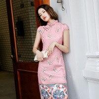 FZSLCYIYI Girls Chinese Cheongsam Sexy Slim Cotton Hand Button Dress Vintage Traditional Qipao Elegant Dresses