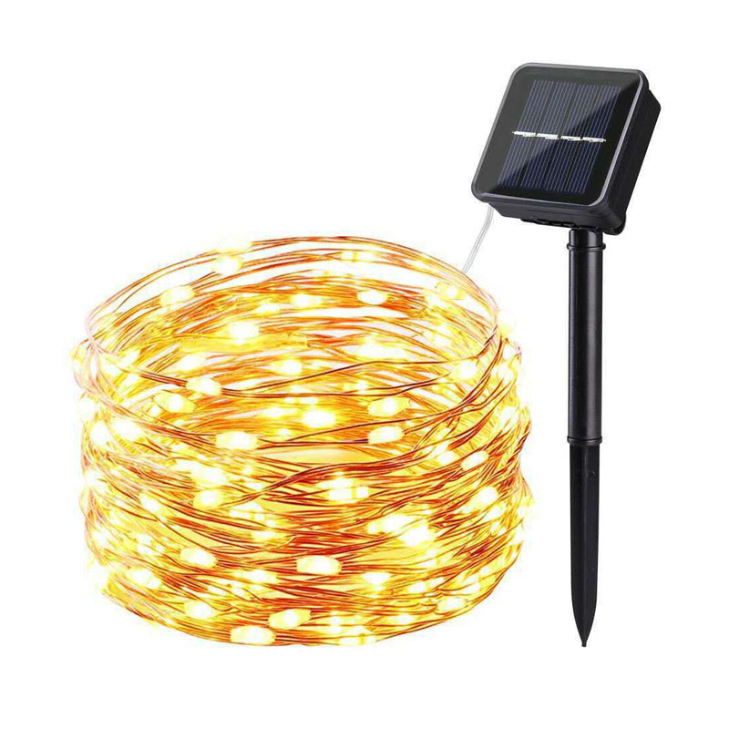 Solar LED Light String Outdoor Waterproof Copper Wire String For Valentine Wedding Holiday Party Fairy Lights