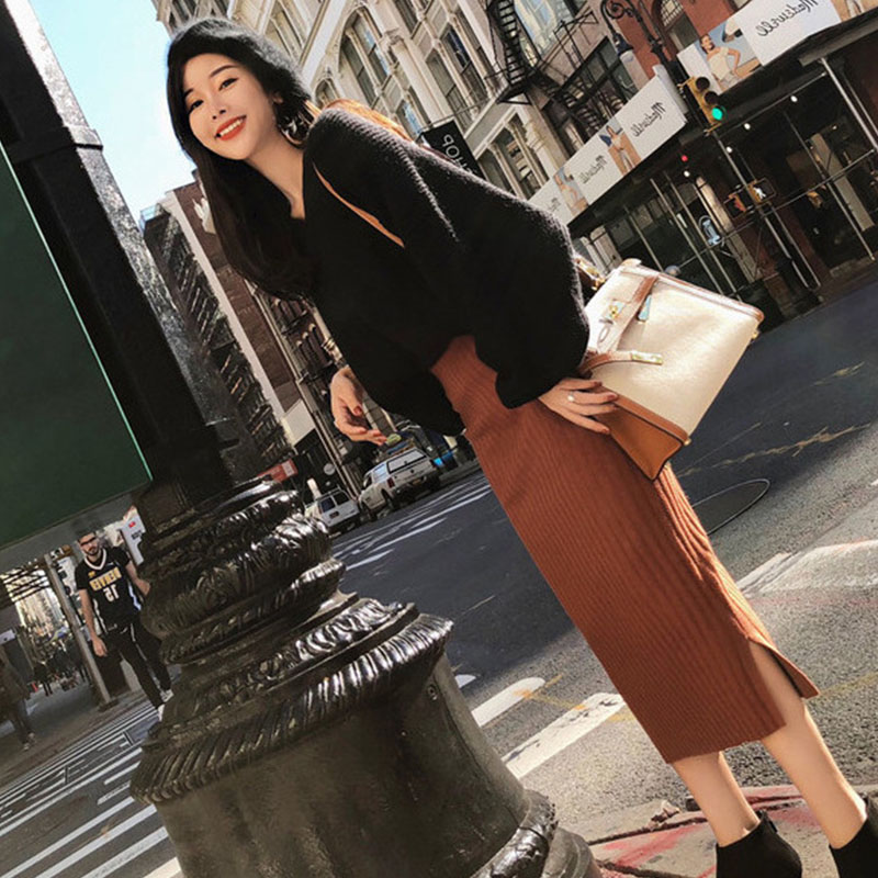 Image 3 - Hot Woman Autumn Knit Two Pieces Suit Solid Female Casual Sweater Pencil Skirt Sets Winter Warm Knitted Two Pieces Suits Woman-in Women's Sets from Women's Clothing