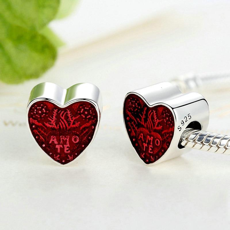 Abby Jewelry 925 Sterling Silver Transparent Cerise Enamel Latin Love Heart Beads Bracelet For Woman Charm Bracelet Jewelry Making