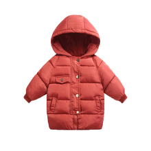 цена на Winter Kids Outerwear Boys Girls Down Jacket New Year's Costumes For Boys Warm Baby Vest Child Hooded Long Coat Clothing Clothes