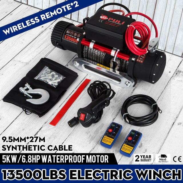 13500lb 전기 윈치 12V 합성 로프 Winchmax 4x4/복구 무선 93ft 윈치