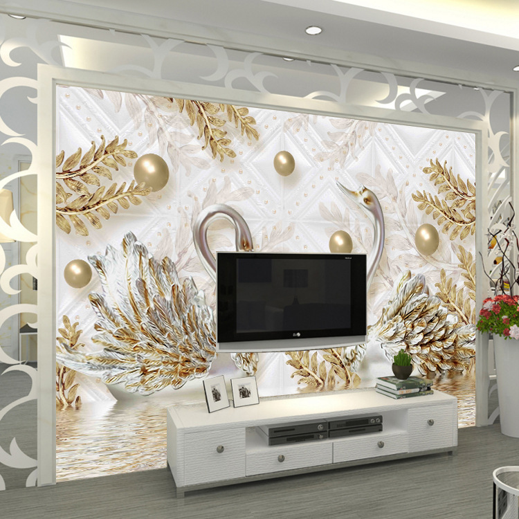 Seamless Mural Living Room Sofa Television Wall Paper 3D Non-woven Wallpaper Palace Jewelry Wall Cloth Wall