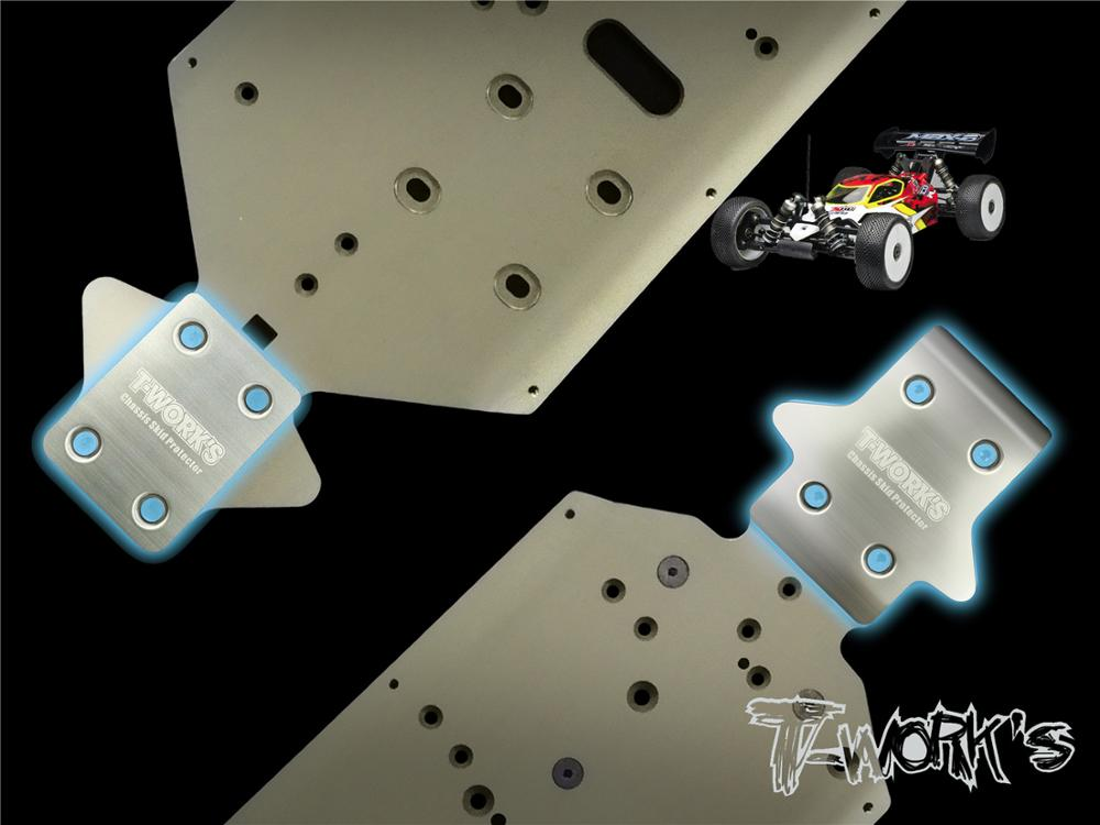 T-WORKS Front And Rear Chassis Skid Protector Anti-scratch Sheet Chassis Protection Board Reduce Wear For 1/8 MUGEN MBX8 Buggy