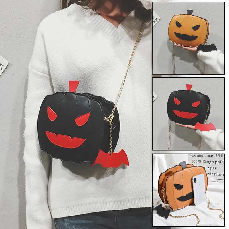 Fashion Wanita Tas Bahu Tas Halloween Labu Berbentuk PU Kulit Tas Gadis Totes Crossbody Tas Labu untuk Hadiah INS Panas