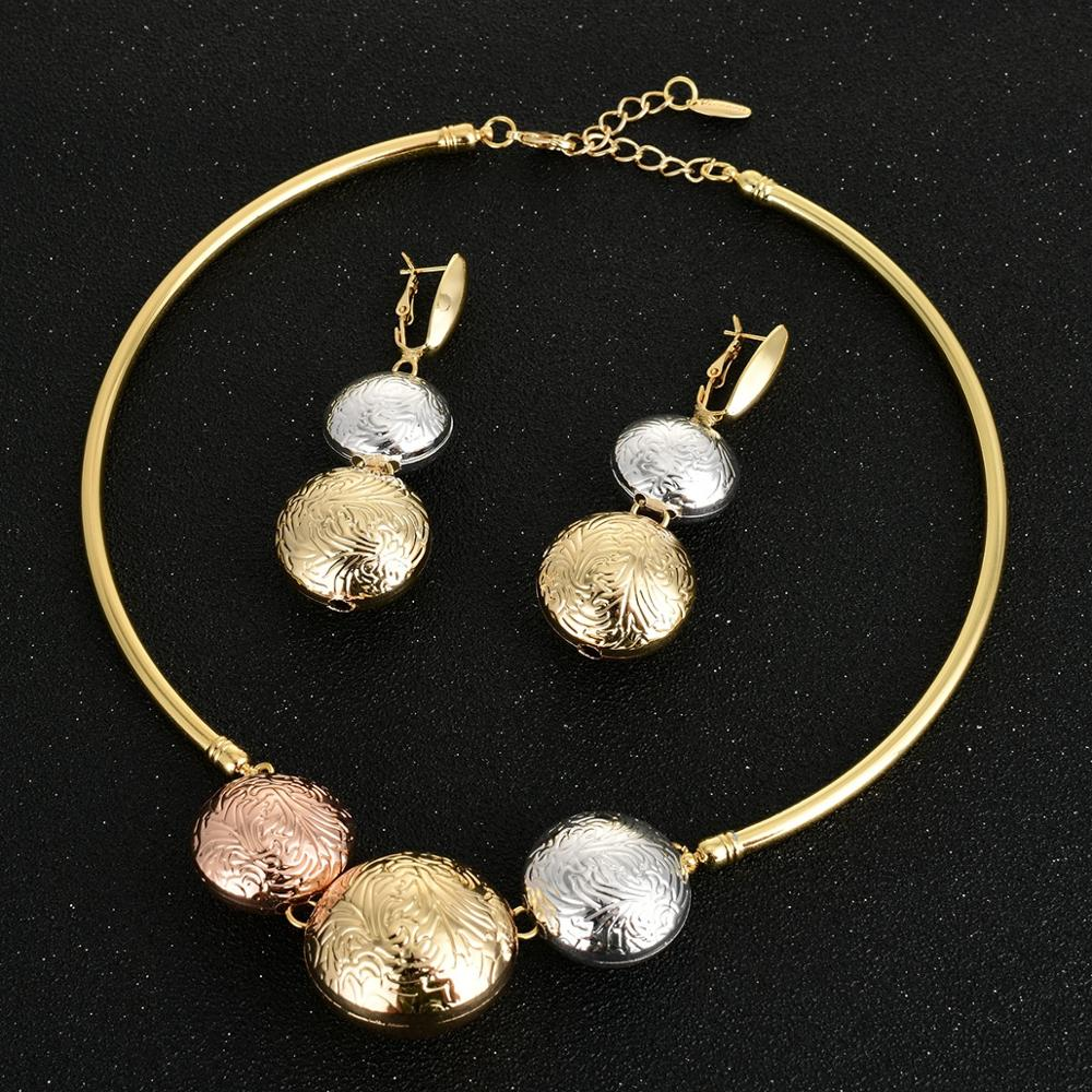 Image 4 - Viennois Fashion Gold Color Dangle Earrings Pendent Choker Necklace Jewelry Set For Women Metal Party Jewelry Set-in Jewelry Sets from Jewelry & Accessories