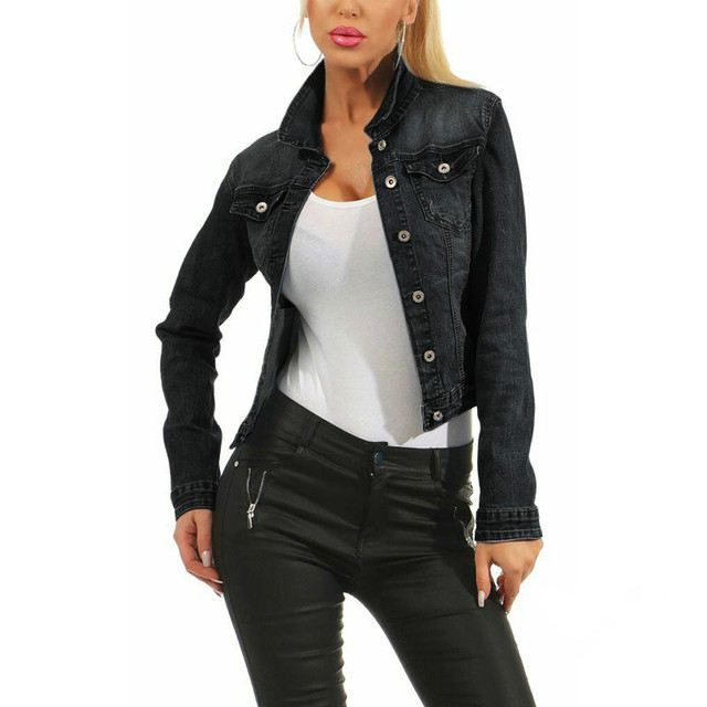 Фото винтажная женская джинсовая куртка в стиле харадзюку повседневная