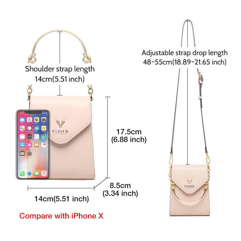 FOXER 세련된 전화 클러치 백 소녀의 미니 휴대 전화 가방 토트 레이디 파티 숄더 백 분할 가죽 크로스 바디 백 세련된 지갑