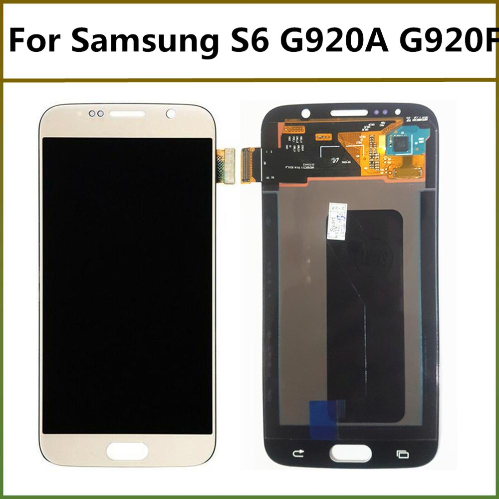 5.1'' AMOLED No Dead Pixel G920F With Frame LCD <font><b>Display</b></font> Touch Screen Digitizer Assembly For <font><b>Samsung</b></font> Galaxy S6 G920F <font><b>G920</b></font> image