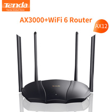 Tenda AX3000 Wireless WiFi Router Wifi 6 Dual-Band 2.4G 5G 2976Mbs Gigabit Rate WPA3 Security,External Signal Amplifier Repeater
