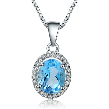 Gem's Ballet 925 Sterling Silver Classic Pendant For Women Fine Jewelry Natural Blue Topaz Gemstone Pendant Necklace