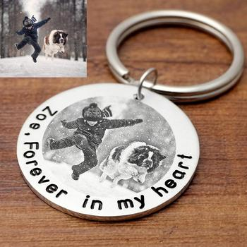 Personalized Picture Key Chain Dog Photo Keychain Customized Pet Rings Engraved Chains Gifts for Her Lover Gift