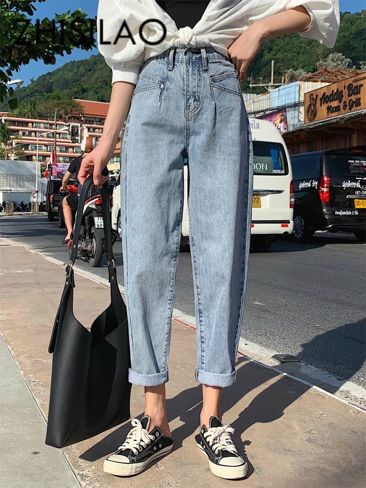 High Waist Harem Jeans Women Straight Vintage Boyfriend Jeans Mujer Denim Pants 2020 Plus Size Wide Leg Jeans Retro