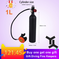 1L Scuba Oxygen Cylinder Diving Air Tank Scuba Regulator Diving Respirator with Gauge Snorkeling Breathing Equipment diving tool