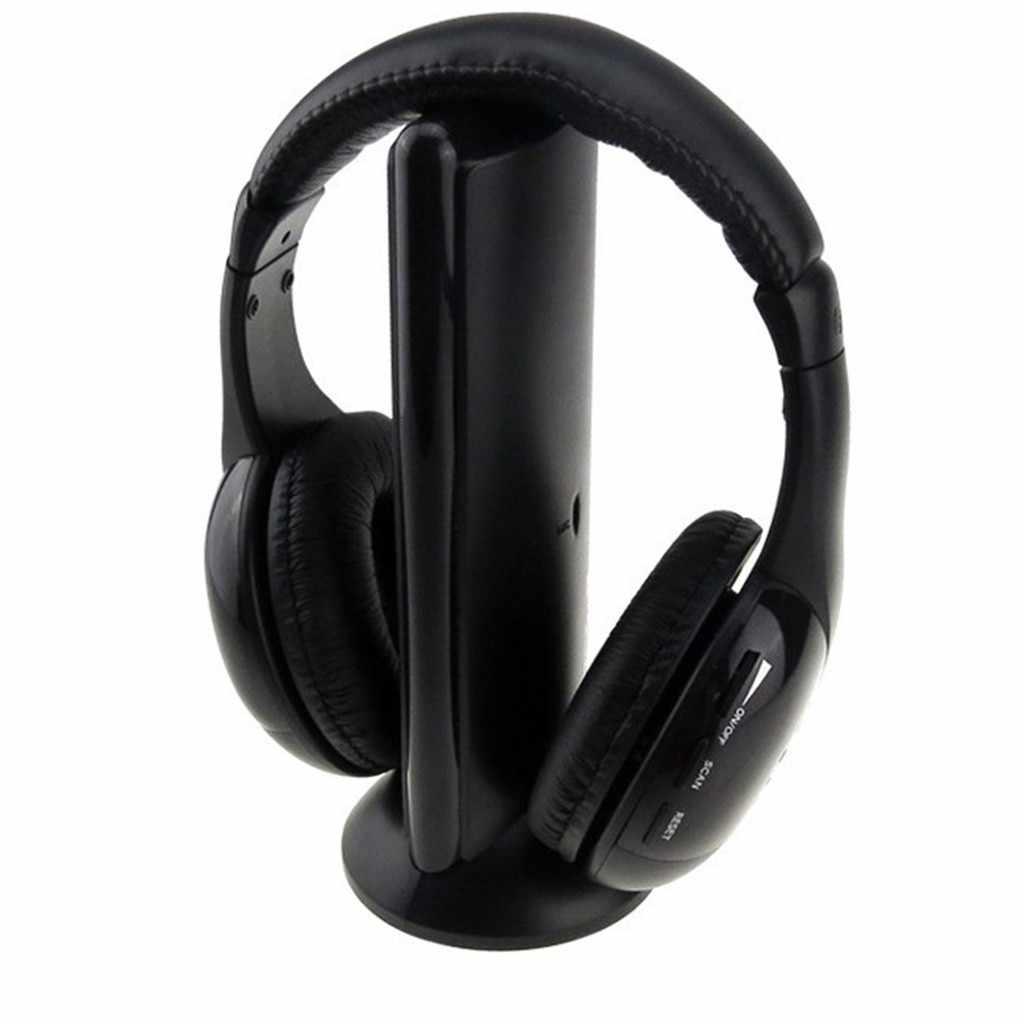 5 In 1 Headset Nirkabel Headphone Tanpa Kabel RF Headset Earphone untuk TV DVD PC Наушники Блютуз Наушники Nirkabel Earphone # e30