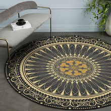 Round Carpet Vintage Rugs Living-Room-Decor Chic-Printed Water-Absorption Thicken Soft