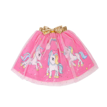 все цены на 3-8Y Fashion Girls Tutu Skirt Kids Princess unicorn print· Ball Gown mesh skirt for girls Children Clothing D014 онлайн
