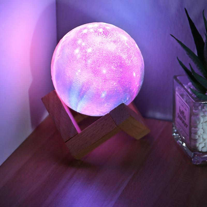 YAGE LED 3D impression lune lampe veilleuse Rechargeable tactile 16 couleurs lumière enfants enfants chambre nuit lampe pour bébé décor maison
