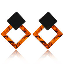 fashion earing for women 2019 new Women Retro popular Pattern print Large Statement Earrings Square Resin Pendant Jewelry(China)