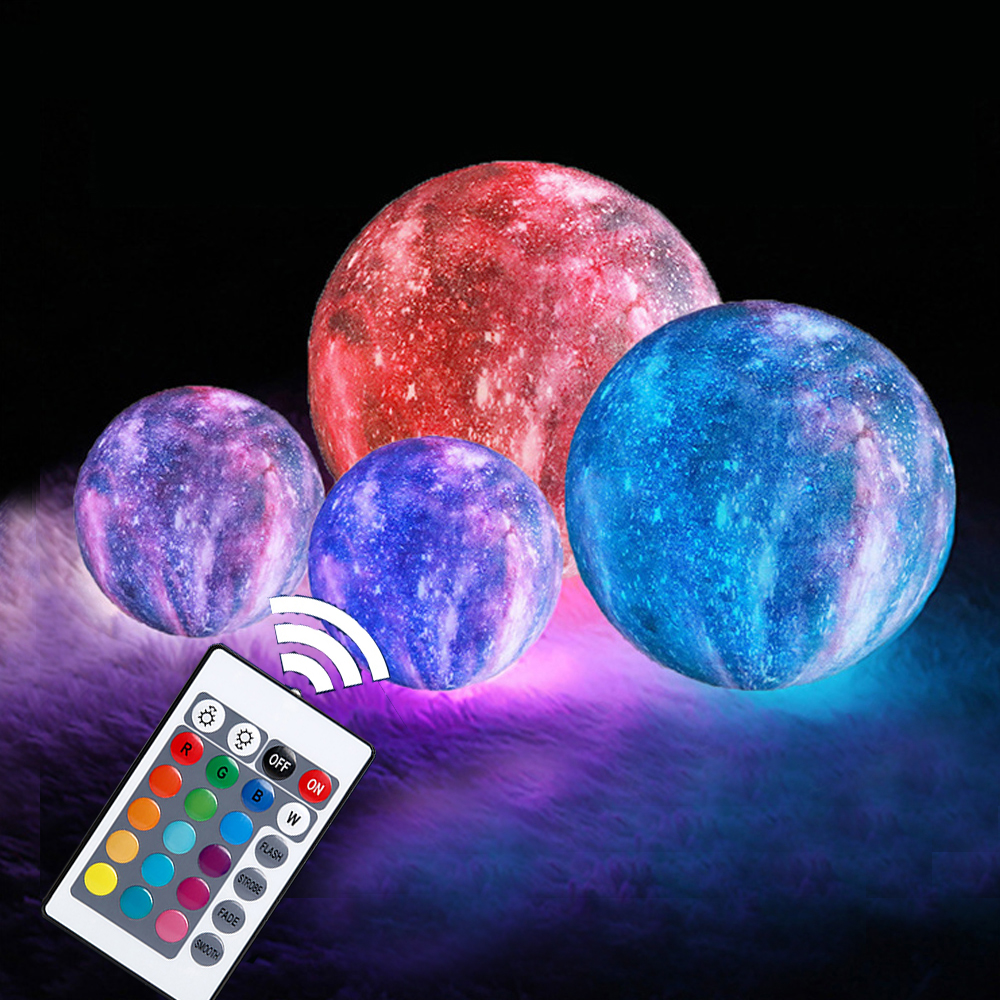 New 3D Print Moon Lamp Usb 16 Colorful Change Touch Control Moon Lights With Wooden Frame Home Decor Creative Gift