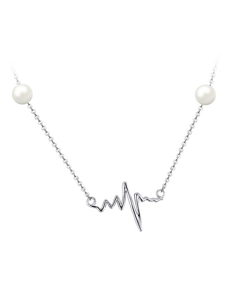 JewelryPalace Heart Waves Round 5mm Freshwater Cultured Pearl Box Chain Choker Strand Necklace 925 Sterling Silver 18 Inches