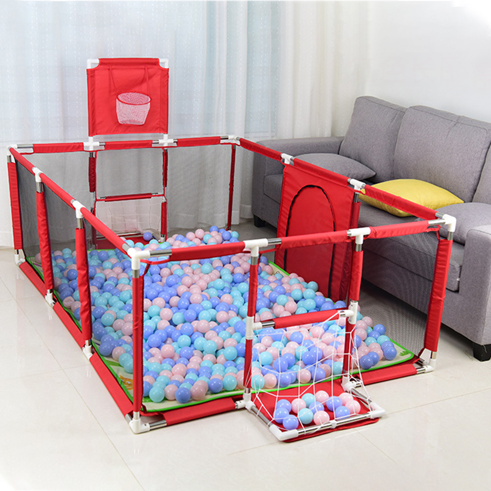 Baby Playpens Ball Pool With Basketball Hoop Extra Large Baby Mesh Fence Indoor Outdoor Playground Dry Pool Playpen For Children