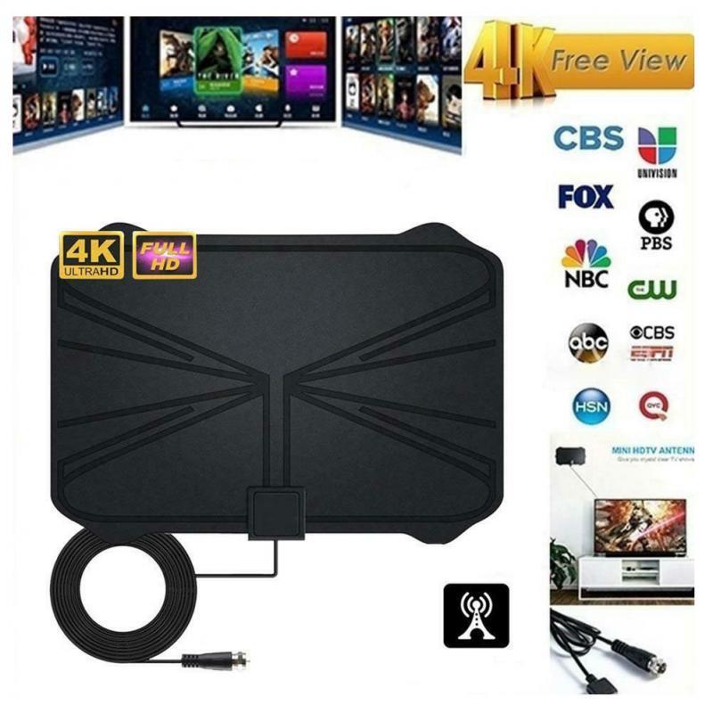 Indoor 4K Signal Amplifier Digital TV Antenna HDTV 4K 980 Miles Range 25DB For VHF UHF HDTV Antenna TV Signal Receiver