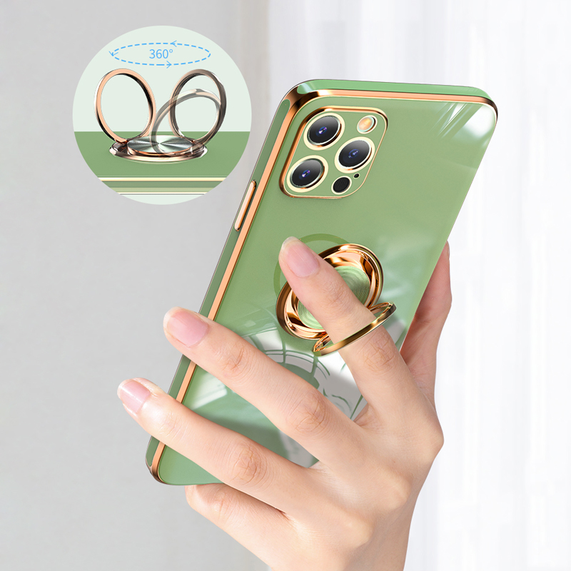 Plating Zachte Siliconen Case Voor Iphone 12 11 Pro Max Xs Mini Xr X S 7 8 Plus IPhone11 Telefoon magnetische Cover Met Ring Houder Stand 4
