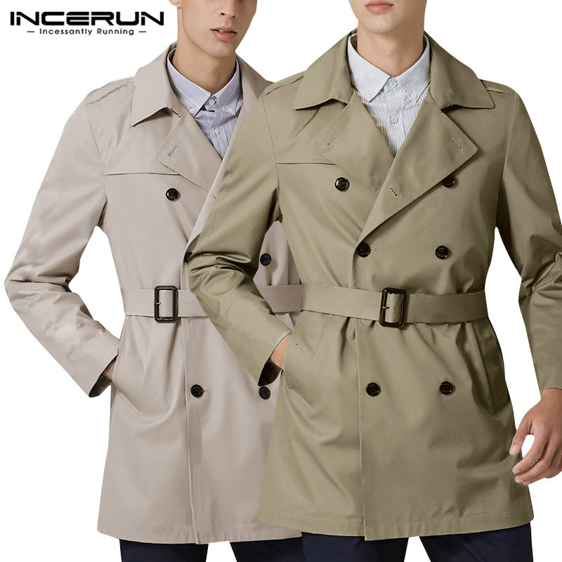INCERUN Autumn Classic Outerwear Men Solid Double Breasted Casual Belt Trench Coats Fashion Streetwear Mens Windbreaker Abrigos