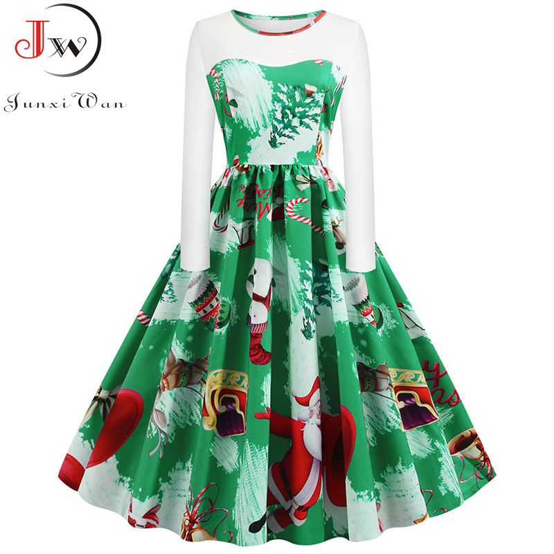 Retro Print High Waist Vintage Christmas Dress Women 2019 Autumn Winter Long Sleeve Rockabilly A-Line Party Dress 5XL Plus Size