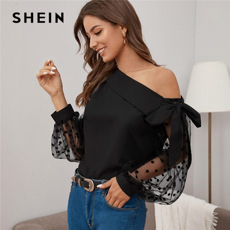 SHEIN Knot Asymmetrical Fold Neck Dot Lantern Mesh Sleeve Top Blouse Women Spring Summer Sheer Glamorous Party Blouses 1