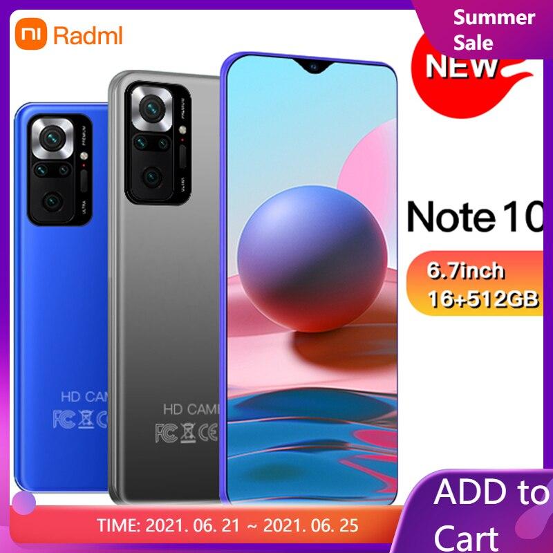 Note10 смартфон 6,7 дюйма 4G/5G 8 ГБ + 128 ГБ 6000 мАч открытые мобильные телефоны Android телефонов Celulares глобальная версия сотовый телефон