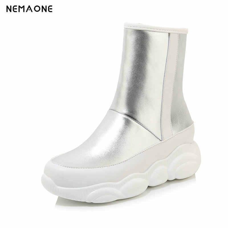 NEMAONE kadınlar düz platformu ayak bileği kar botları bayan ayakkabıları kadın rahat pamuk kış sıcak çizmeler kadın büyük boy 34- 43