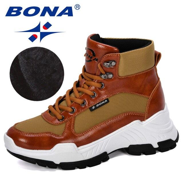 BONA 2019 חדש מעצבי חורף מגפי אישה נעלי שלג מגפי נשים קרסול מגפי גבירותיי קרסול הנעלה חם קטיפה Feminimo טרנדי