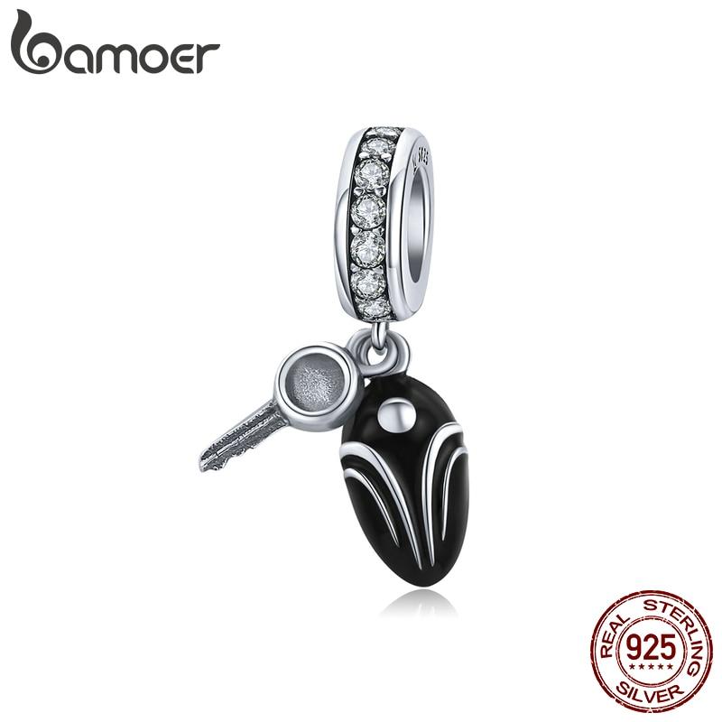 Bamoer Silver 925 Car Vehicle Key Pendant Charm For Original Bracelet Bangle Blace Enamel 925 Sterling Silver DIY SCC1429