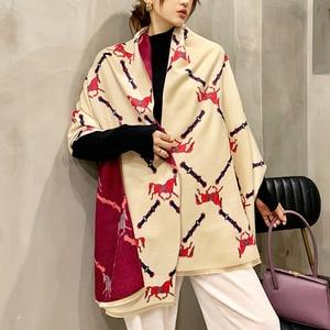 Толстый кашемировый женский шарф, зимний теплый пашмины, дамские шали, обертывания, роскошный бренд 2020, с принтом лошади, одеяло, шарфы для ж...