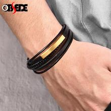 Punk Bracelet Men Black Genuine Leather Multilayer Braided Bangle Stainless Steel Magnetic Clasp Wristband Handmade Jewelry Gift classic men woman genuine leather bracelet tainless steel charm bracelets for male gift magnetic clasp punk wristband
