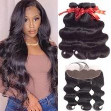 Пряди из человеческих волос с фронтальной волной, наращивание волос, 3 пряди с застежкой спереди, 13x4, фронтальные накладные волосы Remy