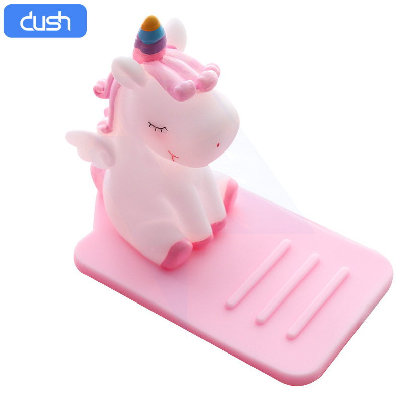 DUSH PVC Soft Lazy Cartoon Mobile Phone Stand, Unicorn Car Desktop Multifunctional Adjustable Stand.