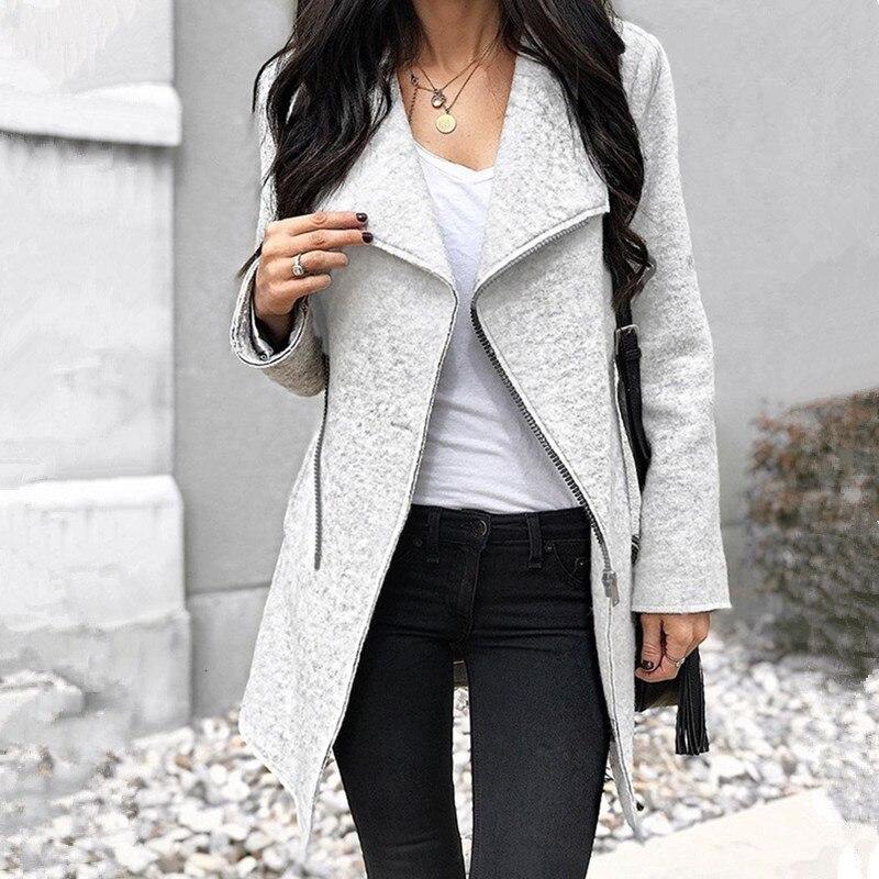 Зимние пальто Женские однотонные серые на молнии тонкие женские пальто с длинным рукавом Женские Необычные тренчи пальто