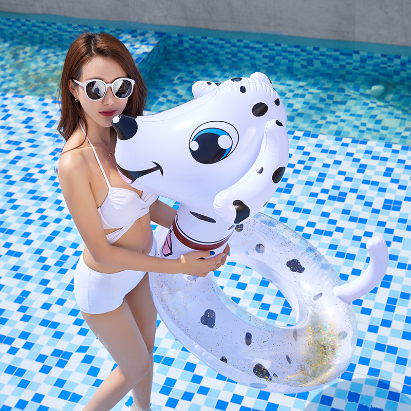 Inflatable Pool Float Transparent Swimming Ring Chinese Zodiac Animal Dog Snake Swimming Circle Adult Pool Floats Inflated Toys