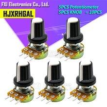5 комплектов WH148 1K 10K 20K 50K 100K 500K Ohm 15 мм 3-контактный линейный конический поворотный потенциометр резистор для Arduino с белой крышкой AG2