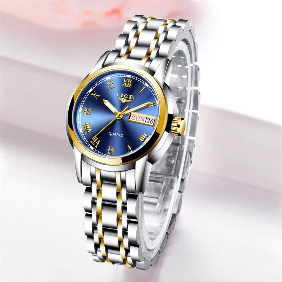 LIGE 2019 New Woman Watches Top Brand Luxury Rose All Full Steel Watch Woman Quartz Waterproof Wristwatch Ladies Watch Clock+Box