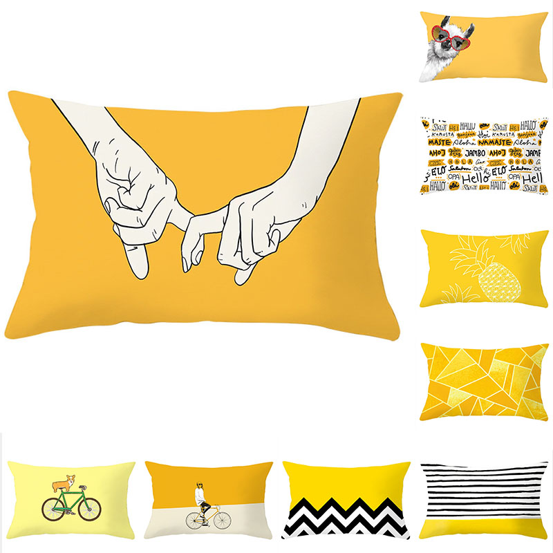 Cushion Cover 30x50 Pillowcase Yellow Geometric Sofa Throw Pillow Decorative Pillow Covers Polyester Home Decoration Pillow Case