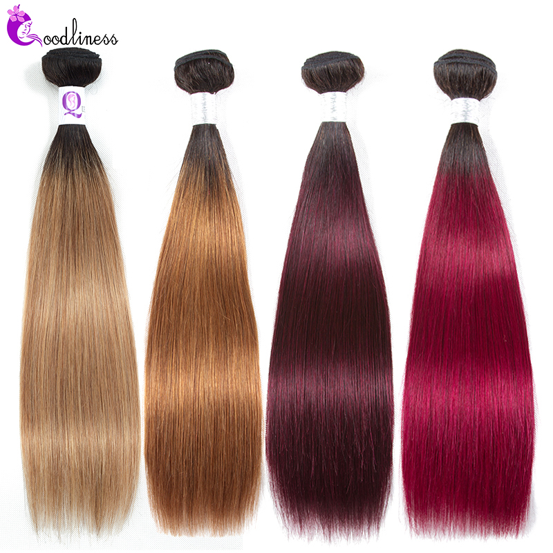Goodliness 1/3/4 Ombre Bundles Brazilian Straight Hair Weave Bundles 99J Burgundy Two Tone Human Hair Bundles Colored Hair Remy