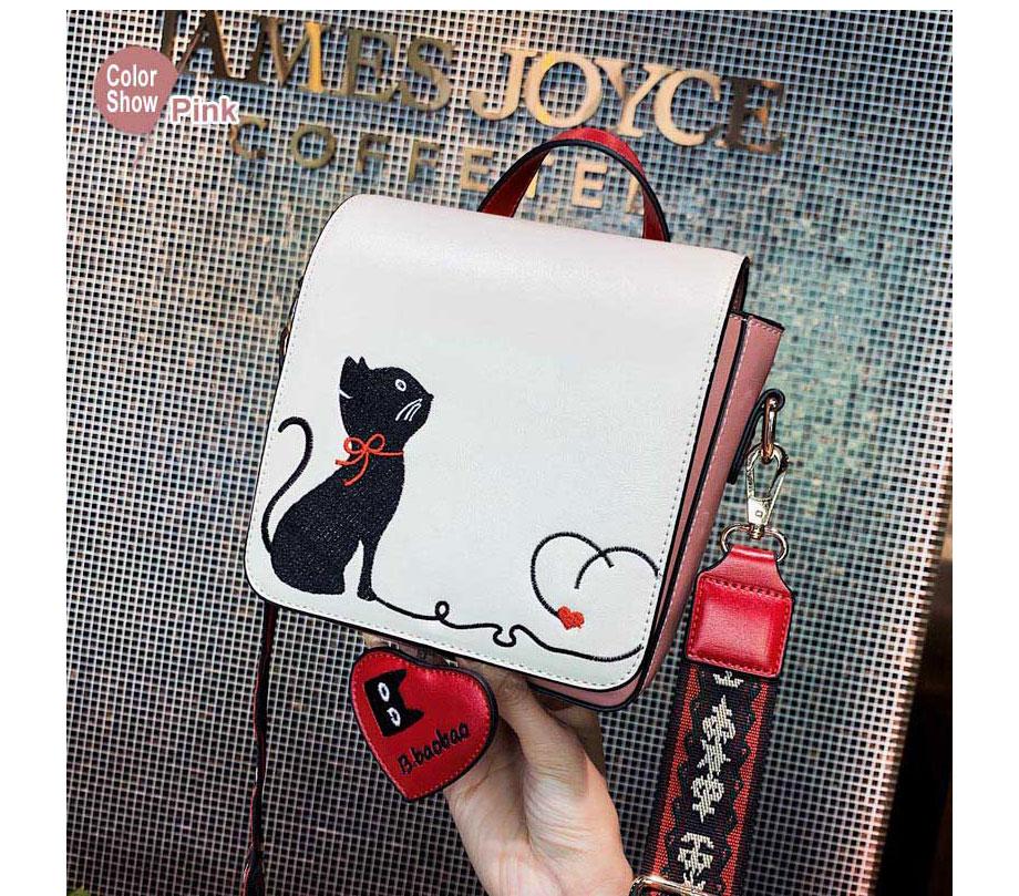 Bolsa feminina de moda bonito gato bordado