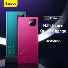 Baseus 20000 mah banco de potência 22.5 w pd 4.0 3.0 carregamento rápido scp tipo c powerbank bateria externa portátil carregador rápido para o telefone