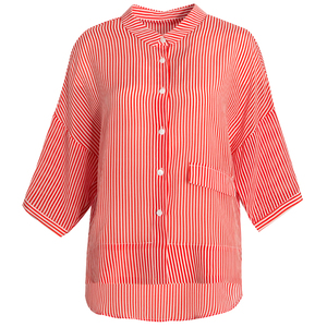 Image 5 - بلوزة شريطية SuyaDream 100% من الحرير الحقيقي مطبوعة بنصف كم بلوزة قميص للنساء 2020 قميص علوي مخطط جديد