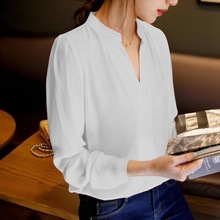 Women's White Blouse Long Sleeve Chiffon Blouse Double V-nec