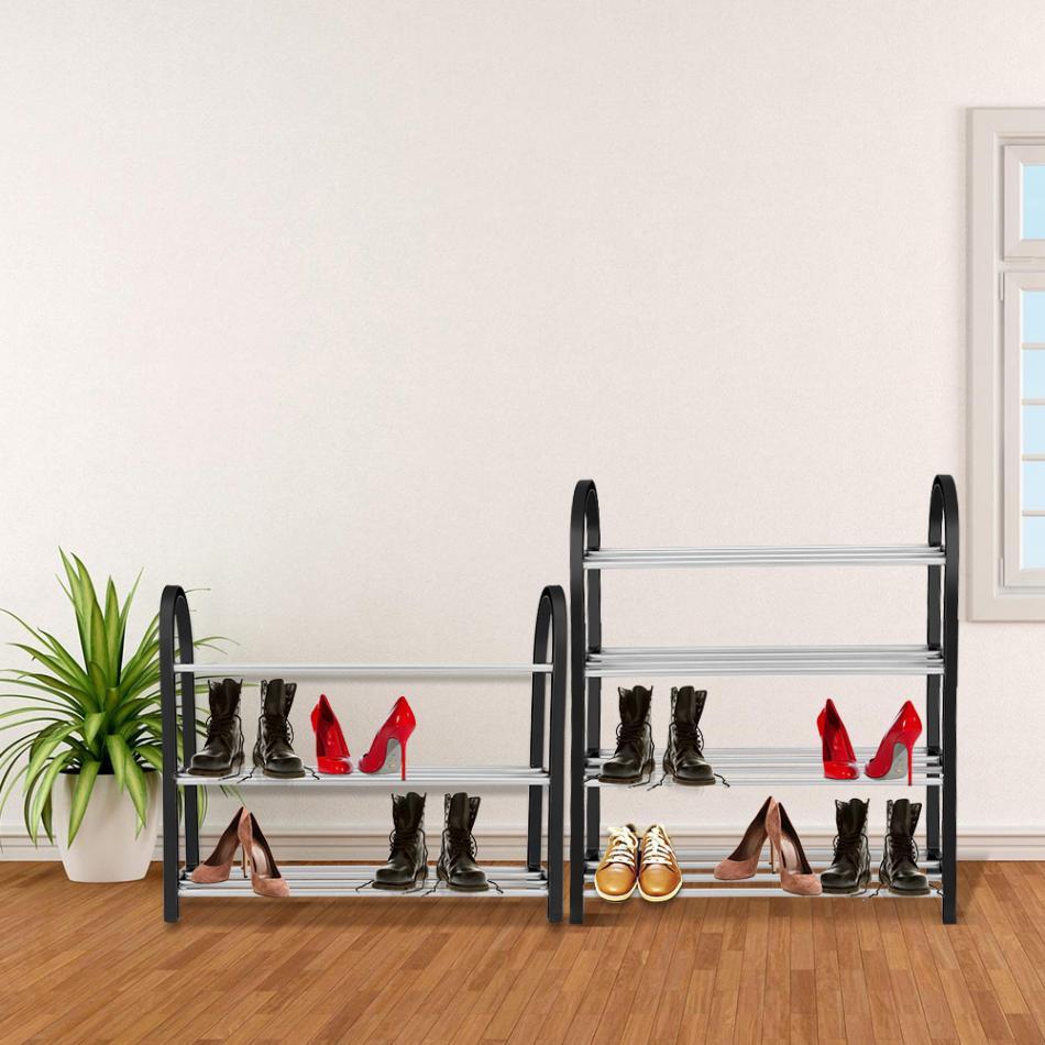 Image 5 - Shoe Rack Aluminum Metal Standing Shoe Rack DIY Shoes Storage Shelf Home Organizer Accessories shoe rack-in Shoe Racks & Organizers from Home & Garden